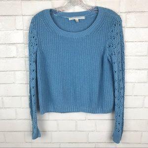 Lauren Conrad cropped sweater top shirt blue R06